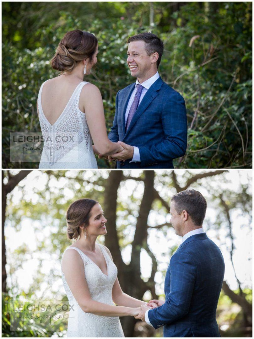 bride and groom looking