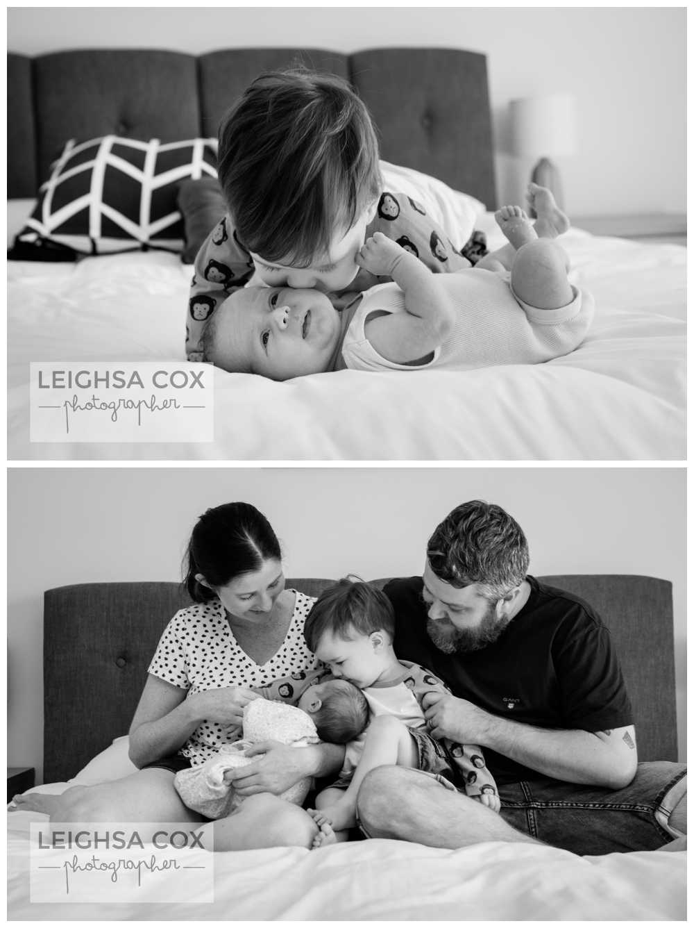 Home Newborn Photography Maitland Black and white
