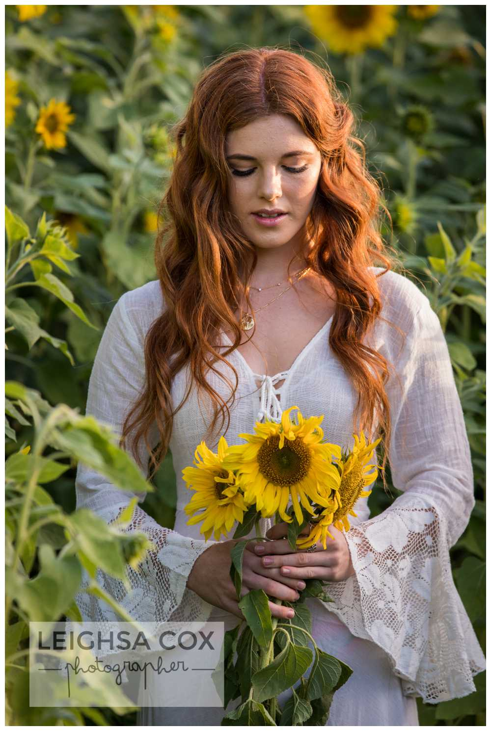 boho bride sunflowers