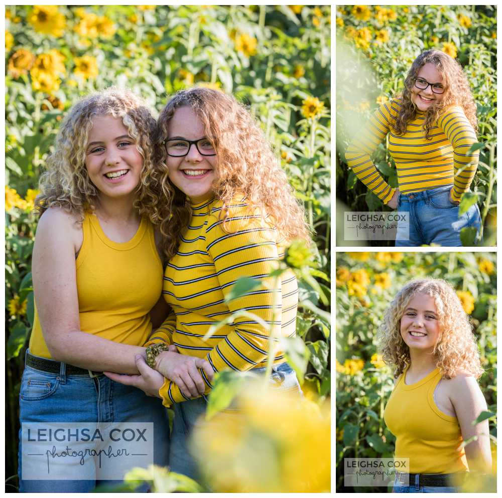 teens in sunflowers
