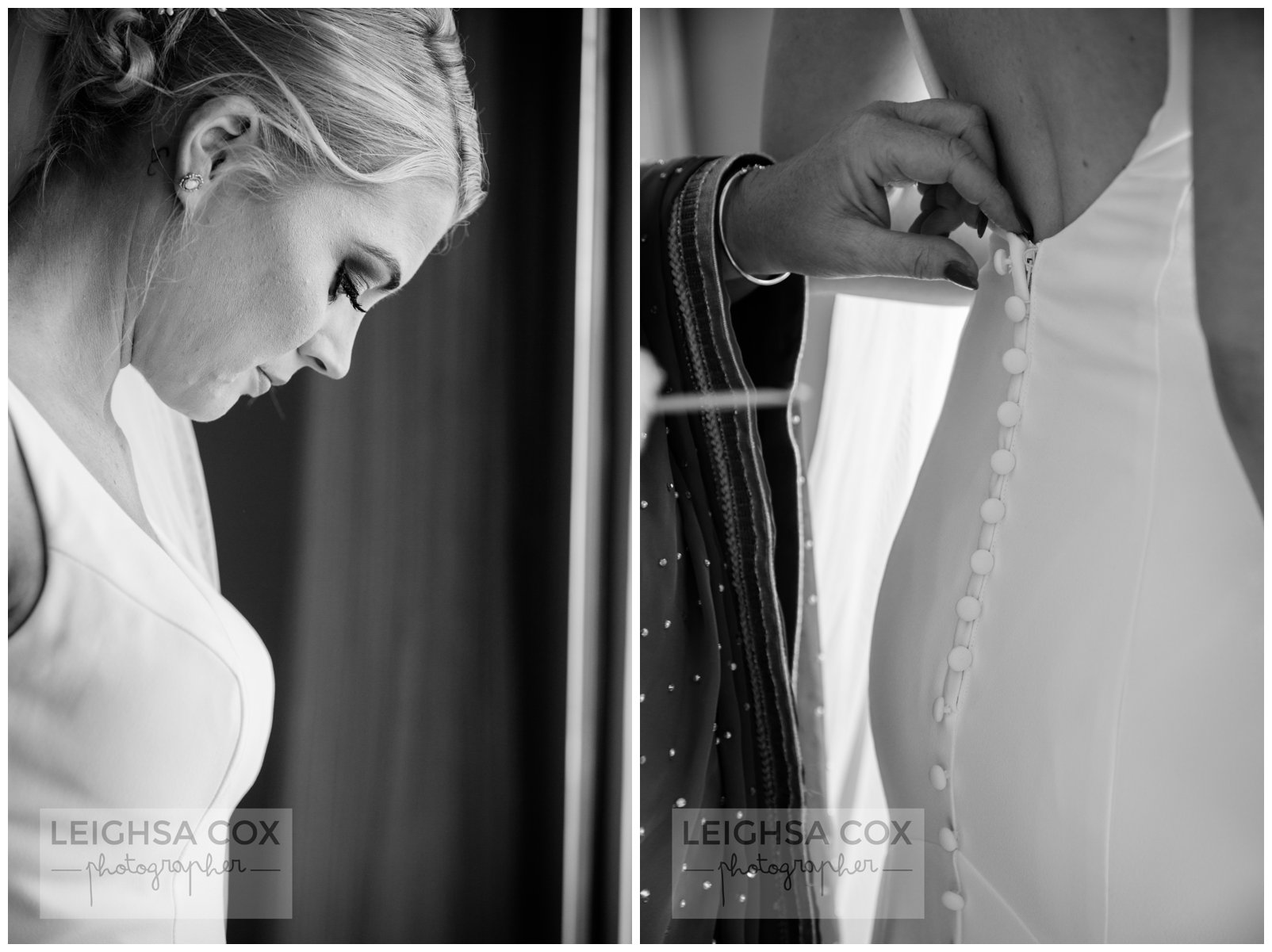 black and white bride prep