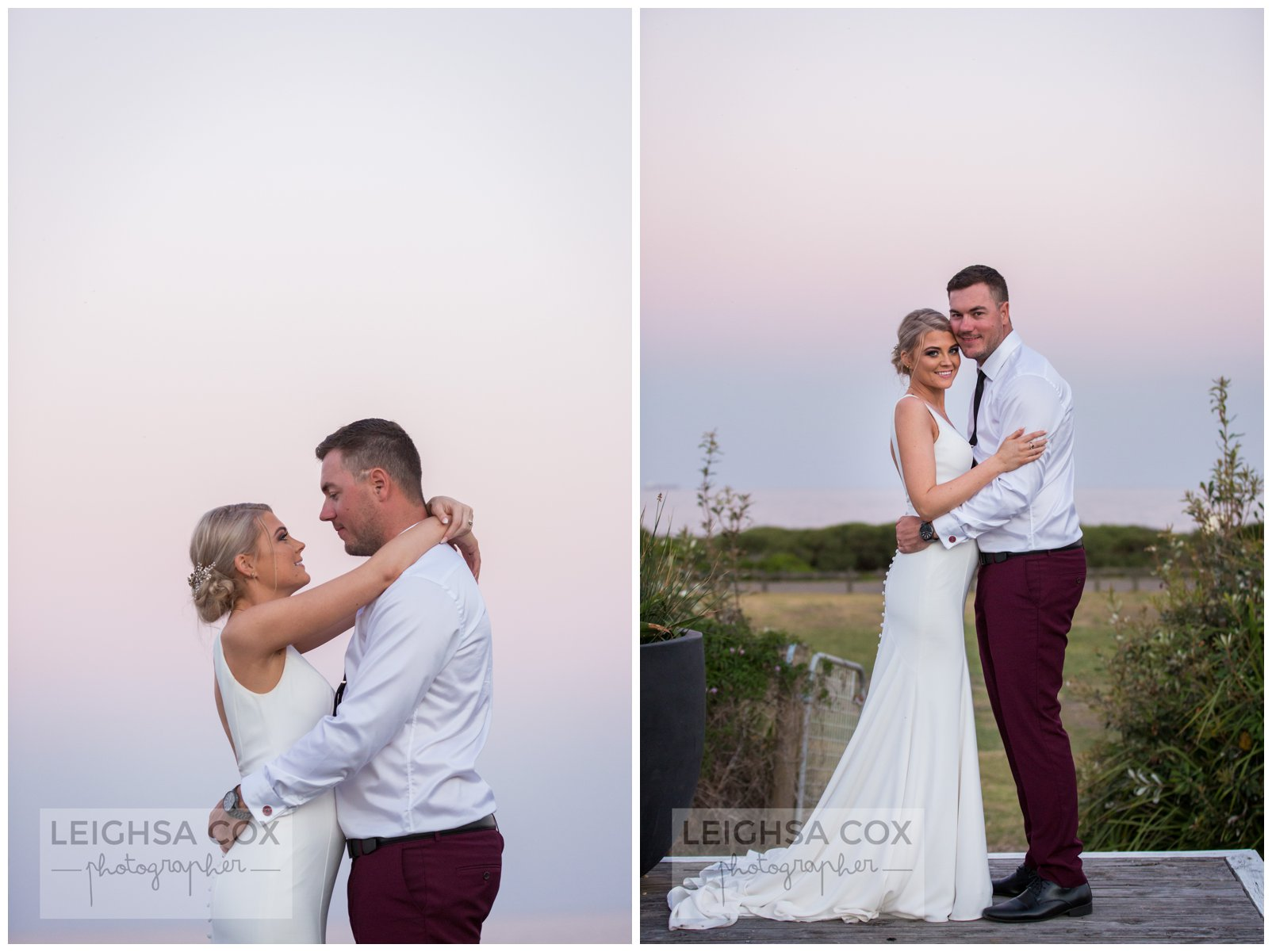 pastel skies bride and groom