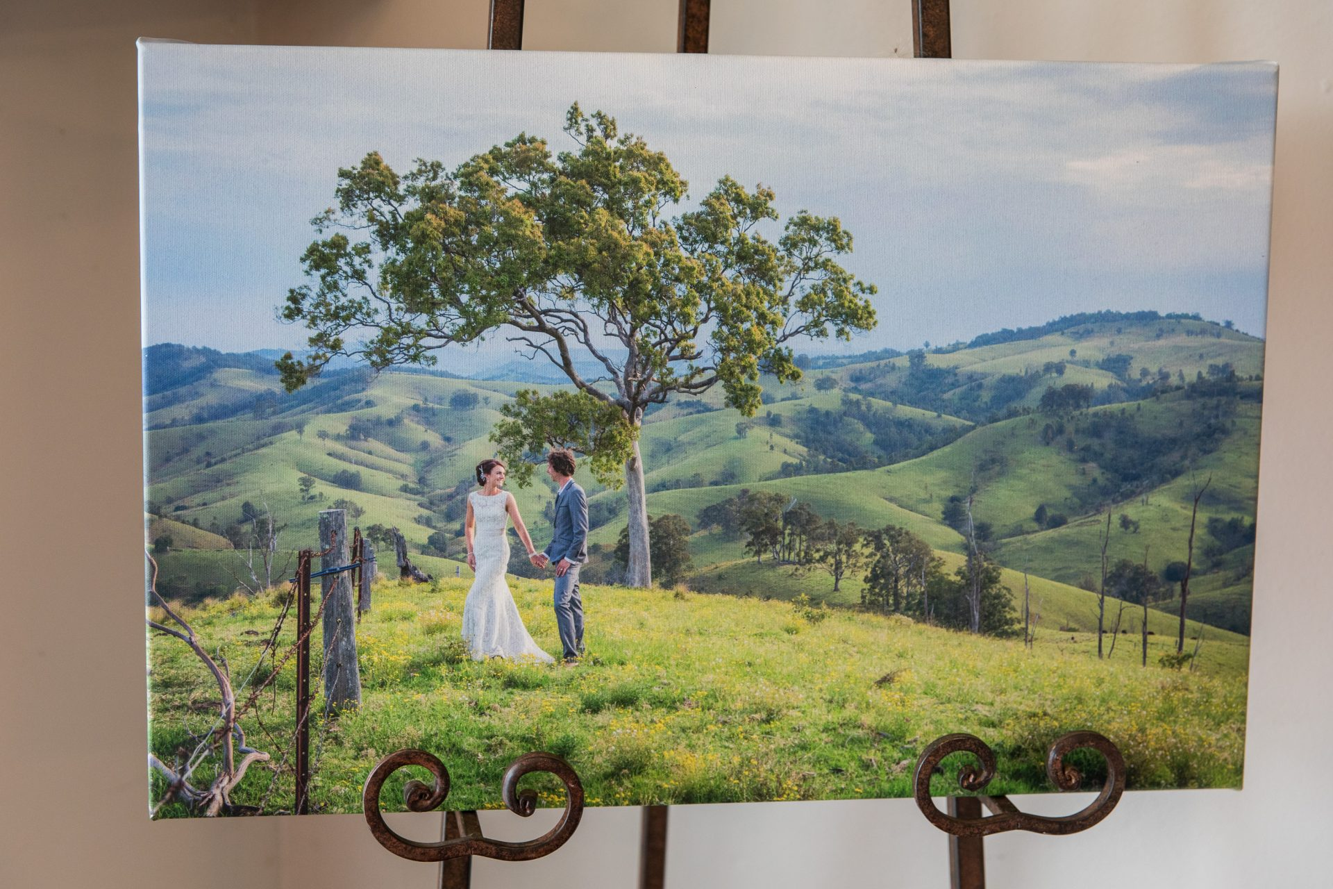 Canvas of Bride and groom hunter valley wedding - the happy couple are in focus amongst the trees rolling hills in background.