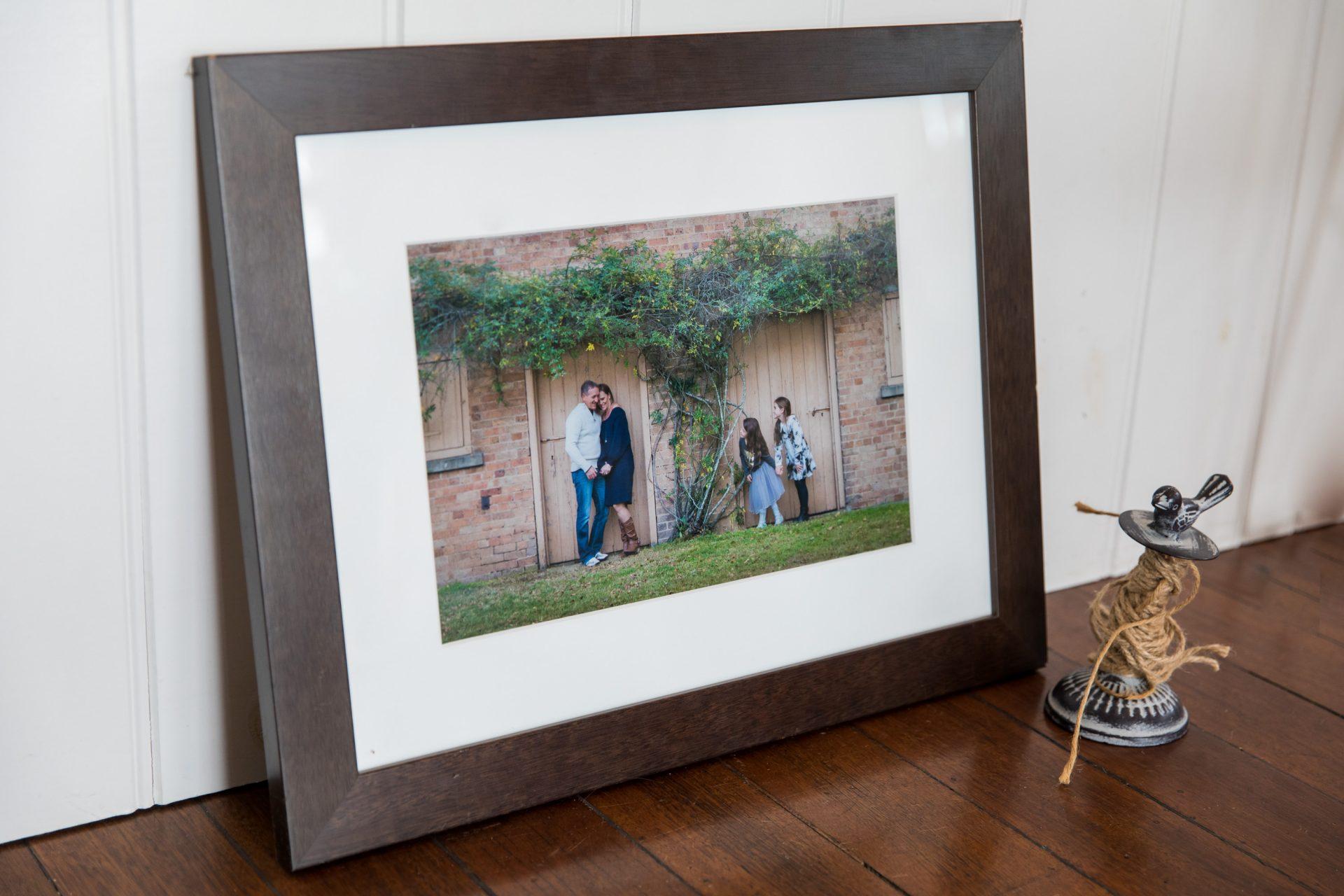 Framed photo of family