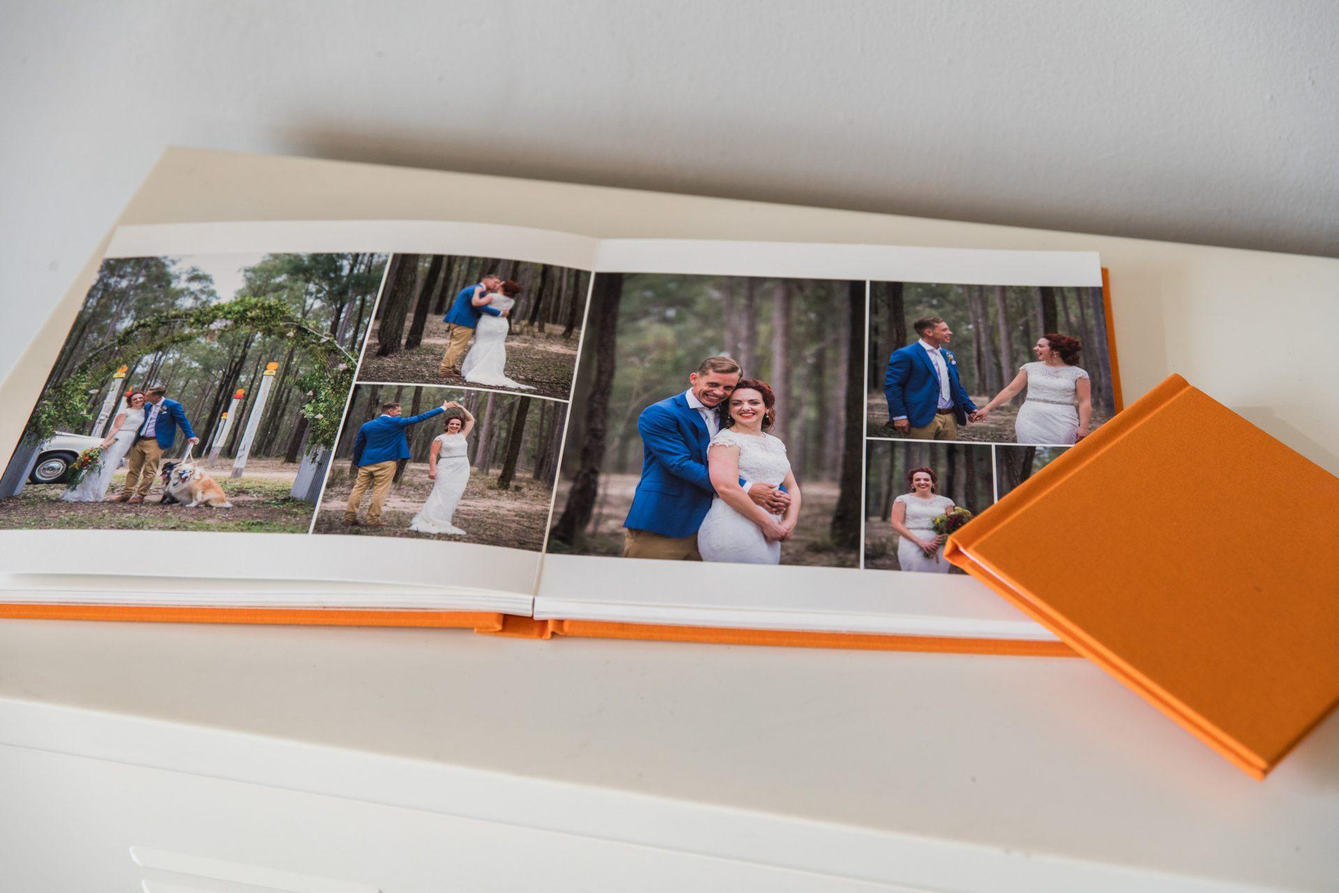 beautiful orange wedding album