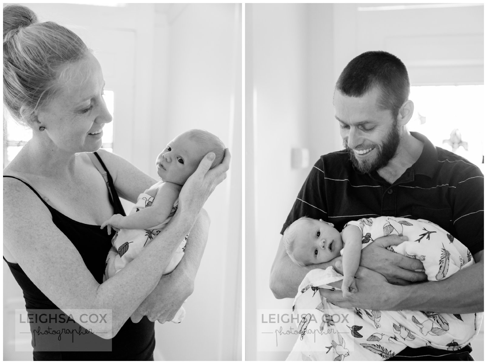 black and white newborn parents