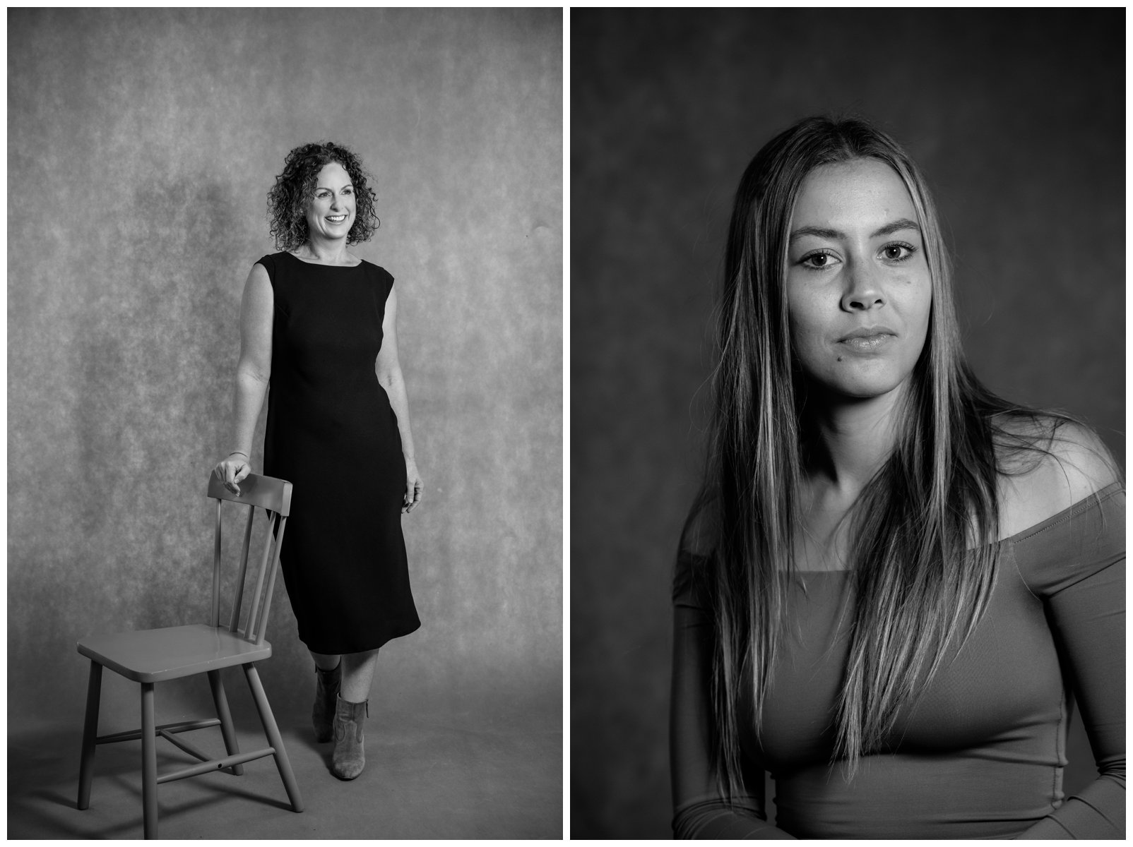 moody black and white studio portraits