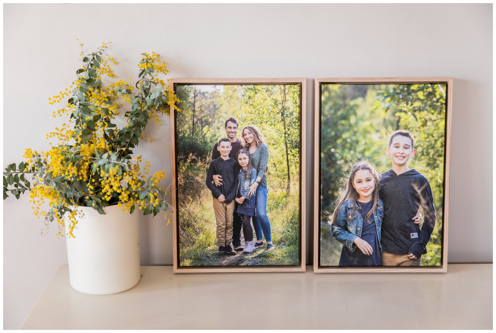 Framed Canvas of family on wattle shelf