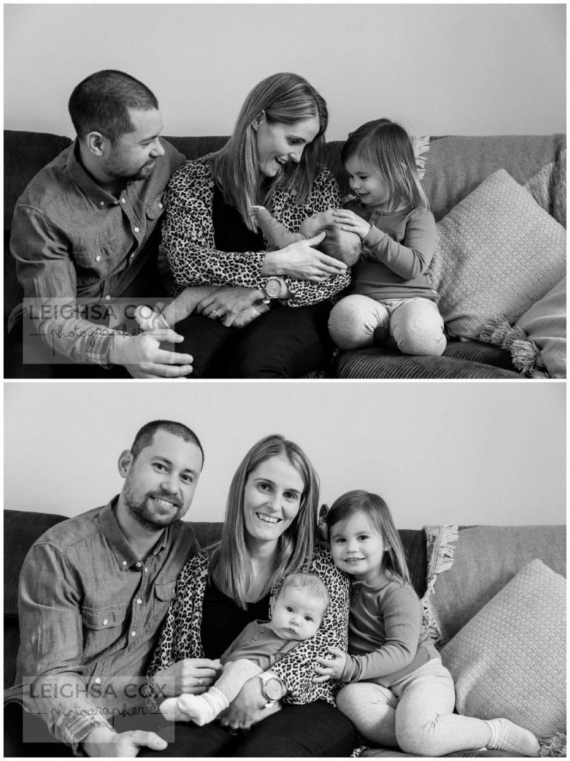 black and white family newborn