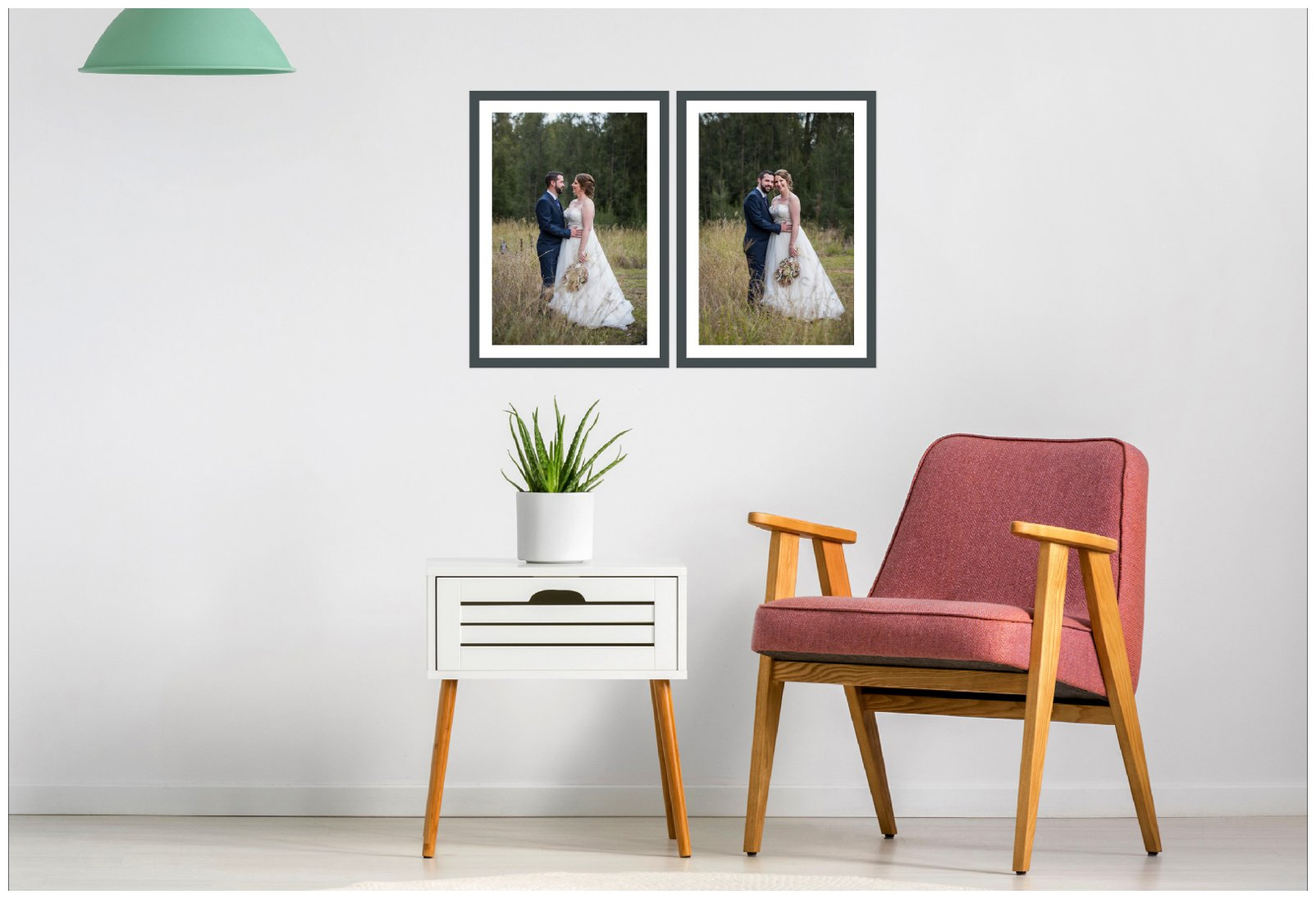 framed bride and groom