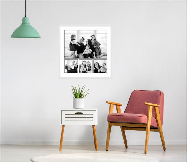 black and white framed family portrait