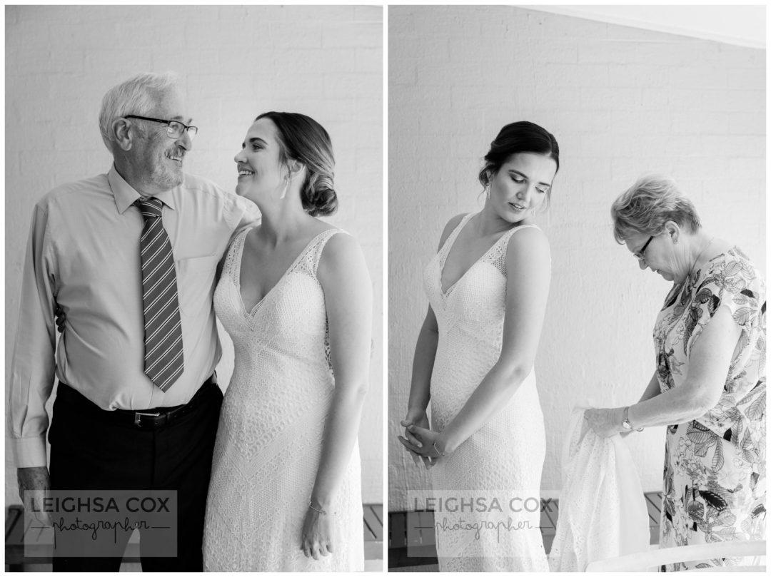 bride and parents