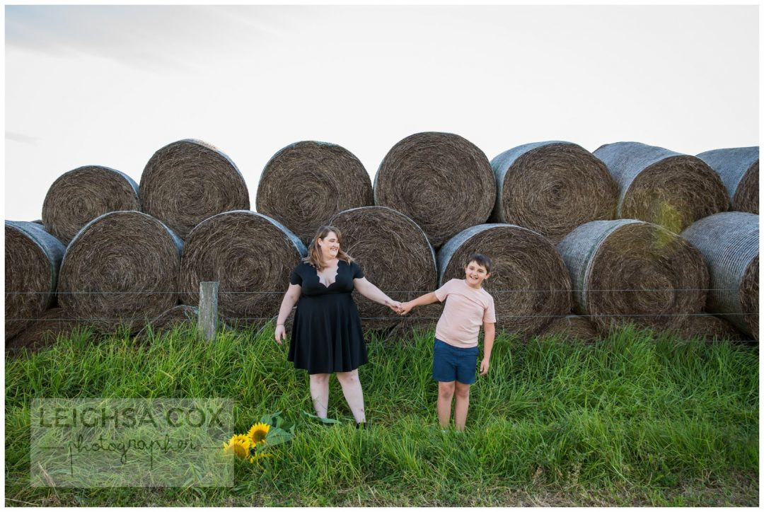 hay bales and sunflowers